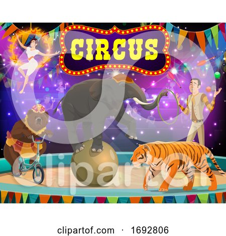 Big Top Circus Show. Tamer, Animals and Gymnast by Vector Tradition SM