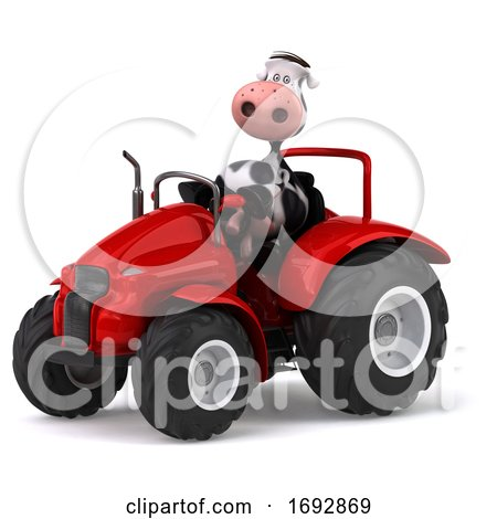 3d Cow Farmer Operating a Tractor, on a White Background Posters, Art Prints