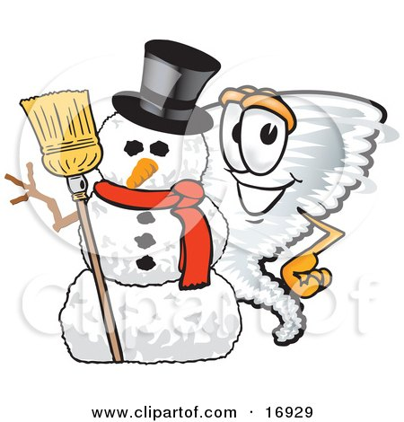 Tornado Mascot Cartoon Character Standing by a Snowman Posters, Art Prints