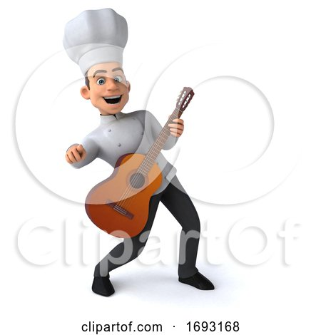 3d Young White Male Chef, on a White Background by Julos