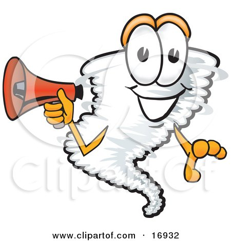 Clipart Picture of a Tornado Mascot Cartoon Character Holding a Red Bullhorn Megaphone by Toons4Biz