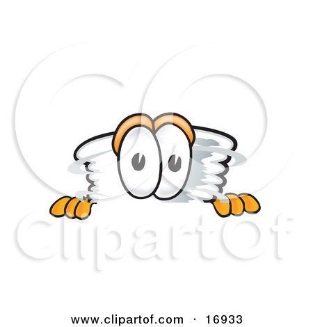 Clipart Picture of a Tornado Mascot Cartoon Character Peeking Over a Surface by Toons4Biz
