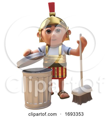 Cartoon 3d Roman Legionnaire Soldier Cleaning up with a Broom and Trash Can, 3d Illustration by Steve Young