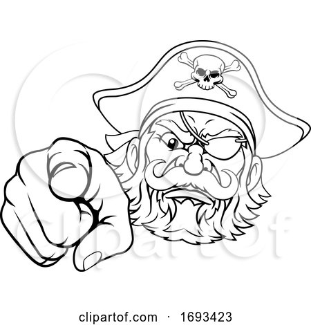 Pirate Captain Cartoon Character Mascot Pointing by AtStockIllustration