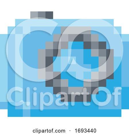 Camera Photos Pixel 8 Bit Video Game Art Icon by AtStockIllustration