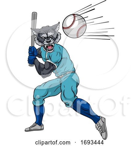 Wolf Baseball Player Mascot Swinging Bat at Ball by AtStockIllustration