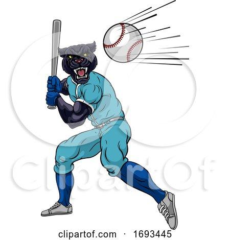 Panther Baseball Player Mascot Swinging Bat by AtStockIllustration