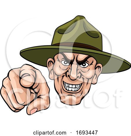 Army Bootcamp Drill Sergeant Soldier Ponting by AtStockIllustration