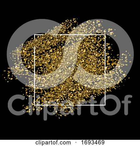 Gold Glitter Background with White Frame by KJ Pargeter