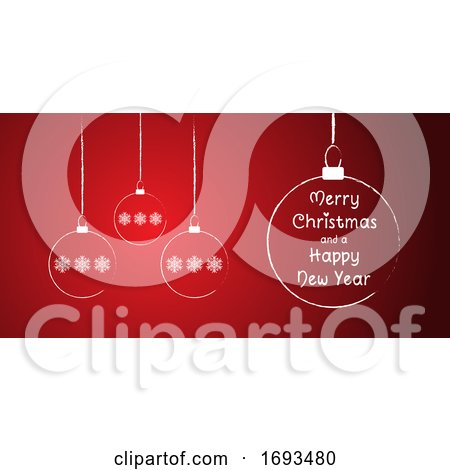 Christmas Background with Sketched Baubles Design by KJ Pargeter