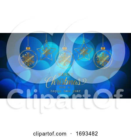 Christmas Banner with Hanging Baubles by KJ Pargeter
