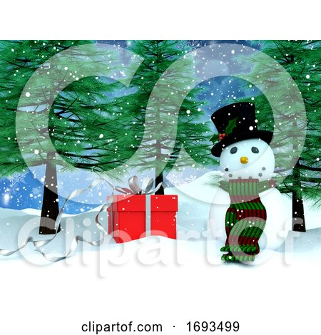 3D Snowy Landscape with Snowman and Gift by KJ Pargeter