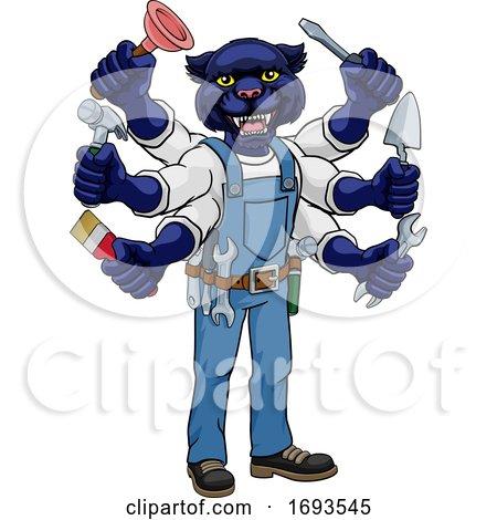 Panther Multitasking Handyman Holding Tools Posters, Art Prints