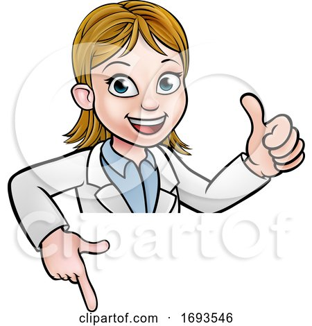 Scientist Cartoon Character Sign by AtStockIllustration