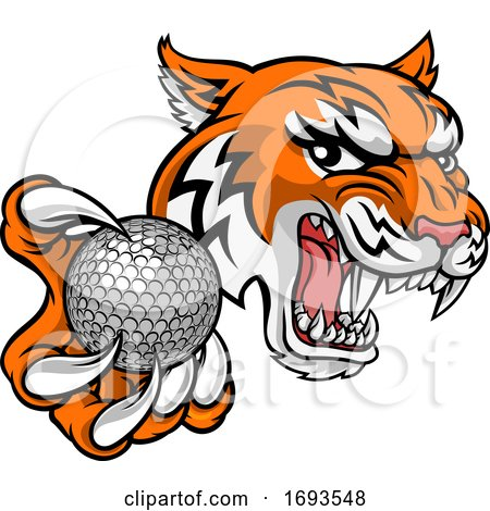 Tiger Golf Ball Player Animal Sports Mascot by AtStockIllustration