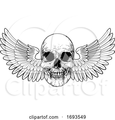 Winged Skull Vintage Woodcut Illustration by AtStockIllustration