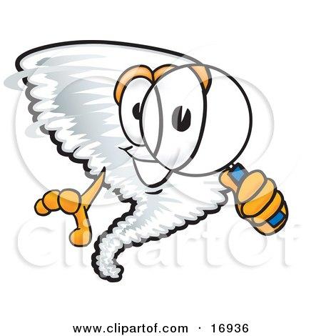 Tornado Mascot Cartoon Character Looking Through a Magnifying Glass Posters, Art Prints
