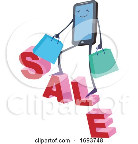 Smart Phone Character Carrying Shopping Bags on the Word Sale by Domenico Condello