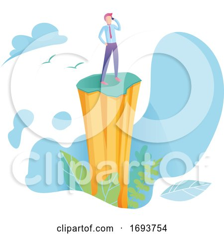 Modern Flat Vector Illustration with Mount and Man on Background. Success Concept by Domenico Condello