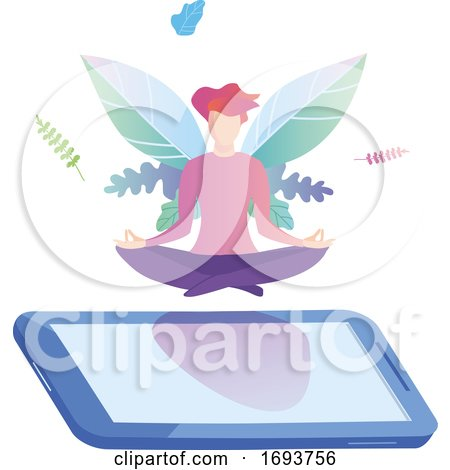 Woman Meditating in Lotus Pose on a Smart Phone by Domenico Condello