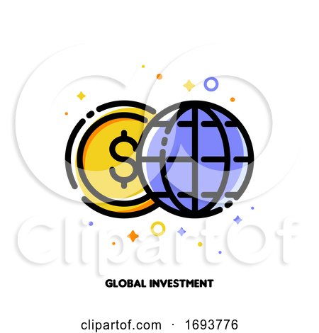 Icon of Globe and Dollar for Global Investment or World Financial System Concept. Flat Filled Outline Style. Pixel Perfect 64x64. Editable Stroke by elena