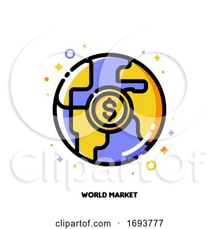 Icon of Globe and Dollar for World Market or Global Financial System Concept. Flat Filled Outline Style. Pixel Perfect 64x64. Editable Stroke by elena