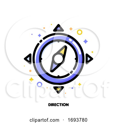 Icon of Compass for Direction in Time Management Concept. Flat Filled Outline Style. Pixel Perfect 64x64. Editable Stroke by elena