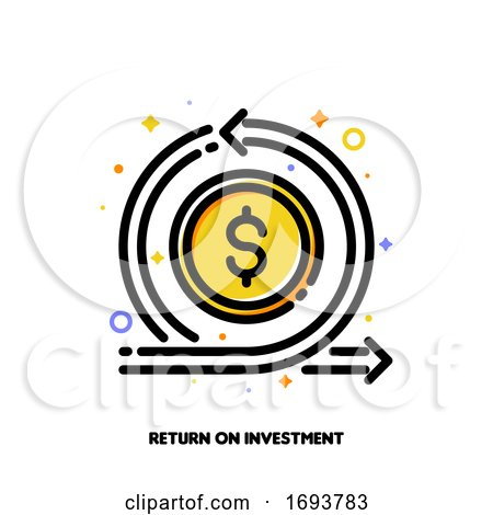 Icon of Dollar and Loop Arrow for Return on Investment or Currency Exchange Concept. Flat Filled Outline Style. Pixel Perfect 64x64. Editable Stroke by elena