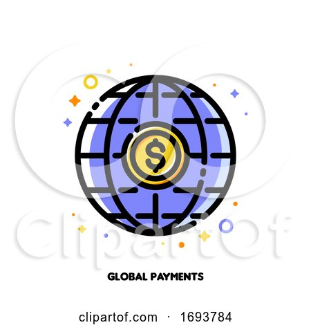 Icon of Global Payment System with Dollar and Globe for Transfer Money All over the World Concept. Flat Filled Outline Style. Pixel Perfect 64x64. Editable Stroke by elena