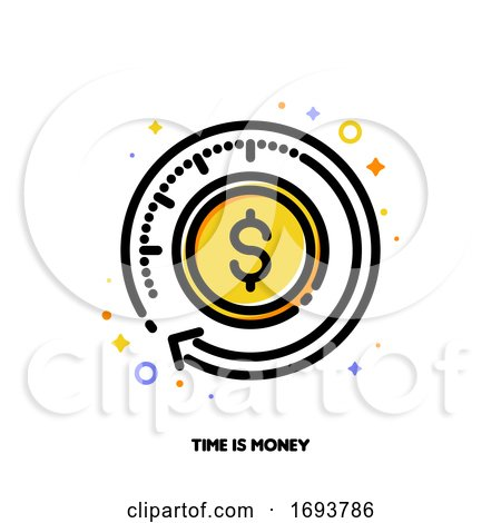 Icon of Finance Service with Clock and Dollar for Time Is Money or Fast Payment Transfer Concept. Flat Filled Outline Style. Pixel Perfect 64x64. Editable Stroke by elena