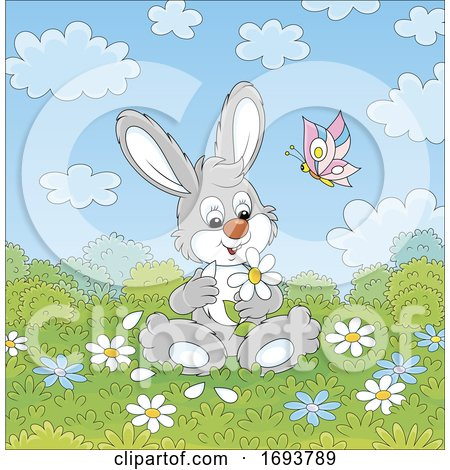 Spring Time Rabbit with Flowers by Alex Bannykh