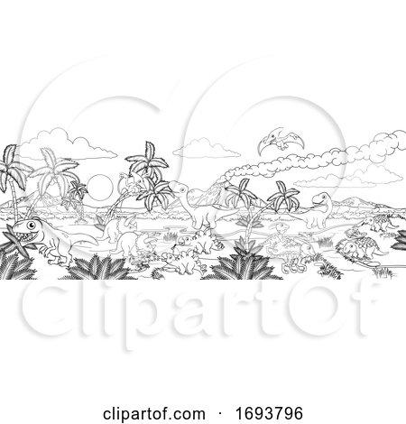 Dinosaur Cartoon Prehistoric Landscape Scene by AtStockIllustration