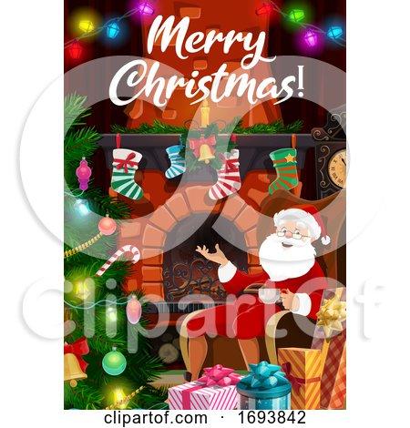 Christmas Tree Lights, Santa Gifts at Fireplace Posters, Art Prints