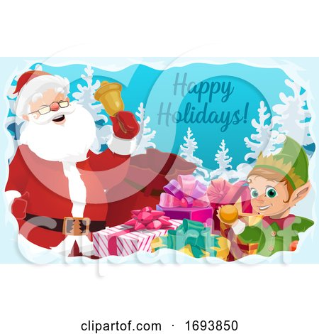 Santa Claus with Christmas Bell, Gifts and Elf by Vector Tradition SM