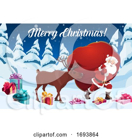Santa Claus and Reindeer with Christmas Gift Bag by Vector Tradition SM