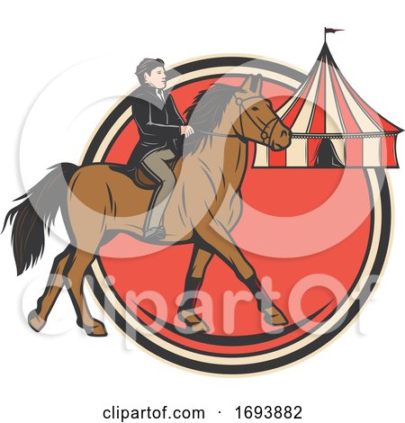 Circus Horse Rider by Vector Tradition SM