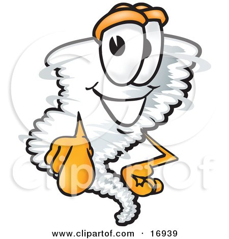 Tornado Mascot Cartoon Character Pointing Outwards at the Viewer Posters, Art Prints