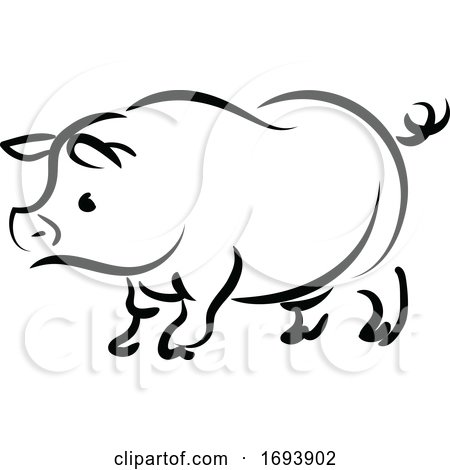 Calligraphy Styled Chinese Zodiac Pig by Vector Tradition SM