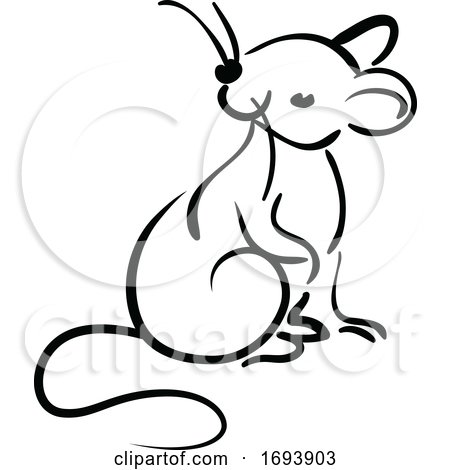 Calligraphy Styled Chinese Zodiac Rat by Vector Tradition SM