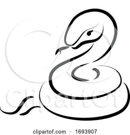 Calligraphy Styled Chinese Zodiac Snake by Vector Tradition SM