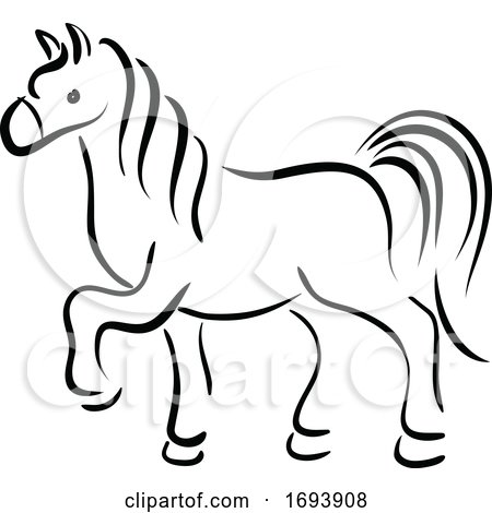 Calligraphy Styled Chinese Zodiac Horse by Vector Tradition SM