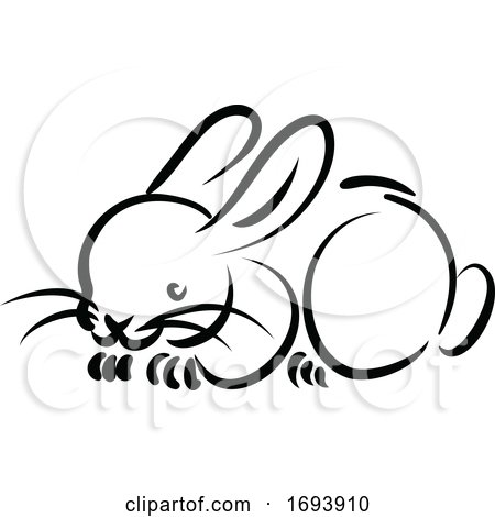 Calligraphy Styled Chinese Zodiac Rabbit by Vector Tradition SM