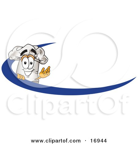 Clipart Picture of a Chefs Hat Mascot Cartoon Character on an Employee Name Tag With a Blue Dash by Toons4Biz