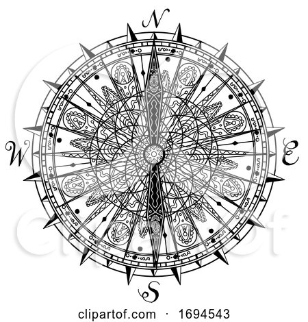 Vintage Compass Mandala Drawing by patrimonio