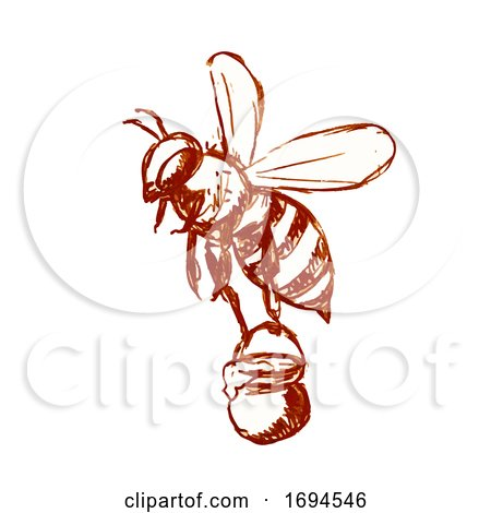 Honey Bee Carrying Pail of Honey Drawing Black and White by patrimonio