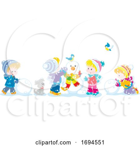 Children Making a Snowman on a Winter Day Posters, Art Prints