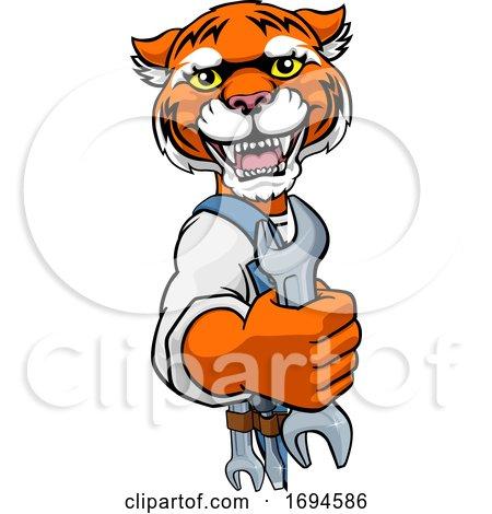 Tiger Plumber or Mechanic Holding Spanner Posters, Art Prints