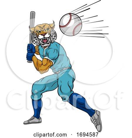 Wildcat Baseball Player Mascot Swinging Bat by AtStockIllustration