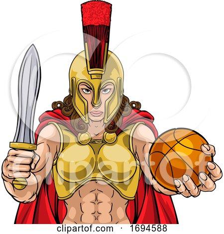 Spartan Trojan Gladiator Basketball Warrior Woman by AtStockIllustration