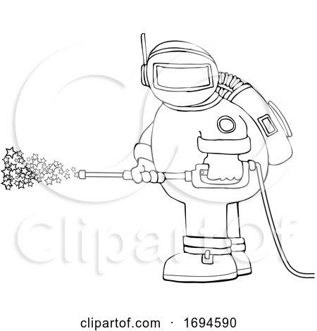 Cartoon Chubby Astronaut Spraying Stars with a Pressure Washer by djart